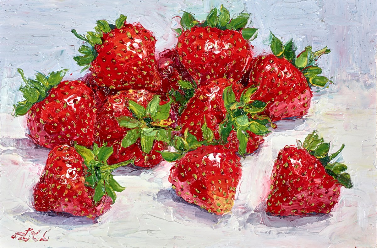 Handful of Strawberries V by lana okiro -  sized 9x6 inches. Available from Whitewall Galleries
